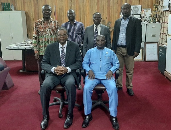 Hon Aboagye Gyedu Sitting Right in a Group Picture with the VC and other UMaT Officials