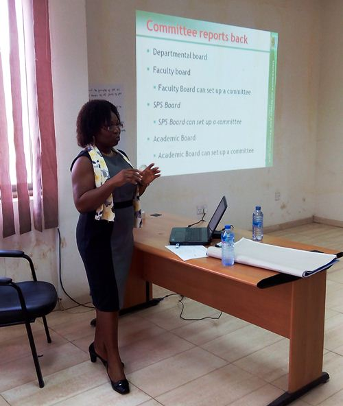 Prof Grace Ofori Sarpong delivering a lecture at the seminar for convocation