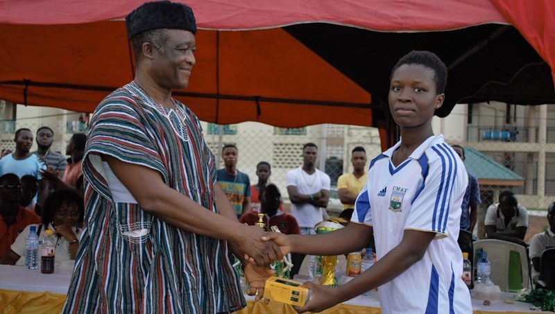 Prof Al Hassan Presenting the best Female Player Award to Serah Essien of FOE