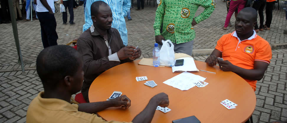 Some Staff Members Playing Cards