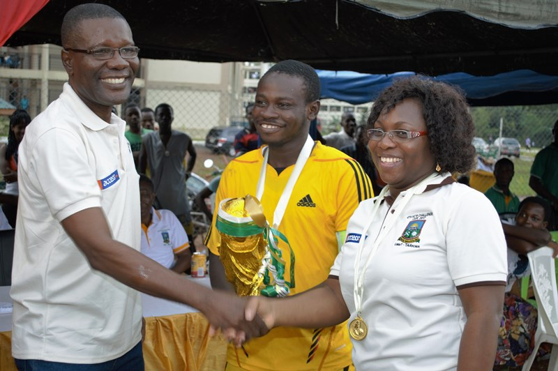 The Pro VC Prof Temeng congratulating the Captain and Prof Grace Ofori Sarpong Head of Petroleum Engineering