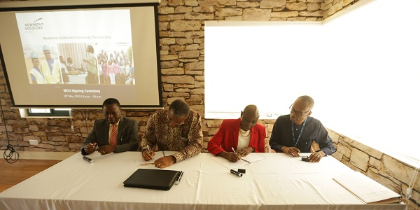 Prof Kuma 2nd Left Signing on behalf of UMaT Whilst Awo Quaison Sackey Signs on behalf of Newmont Goldcorp Ghana